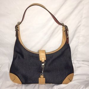 Coach denim hobo bag with tan & red leather